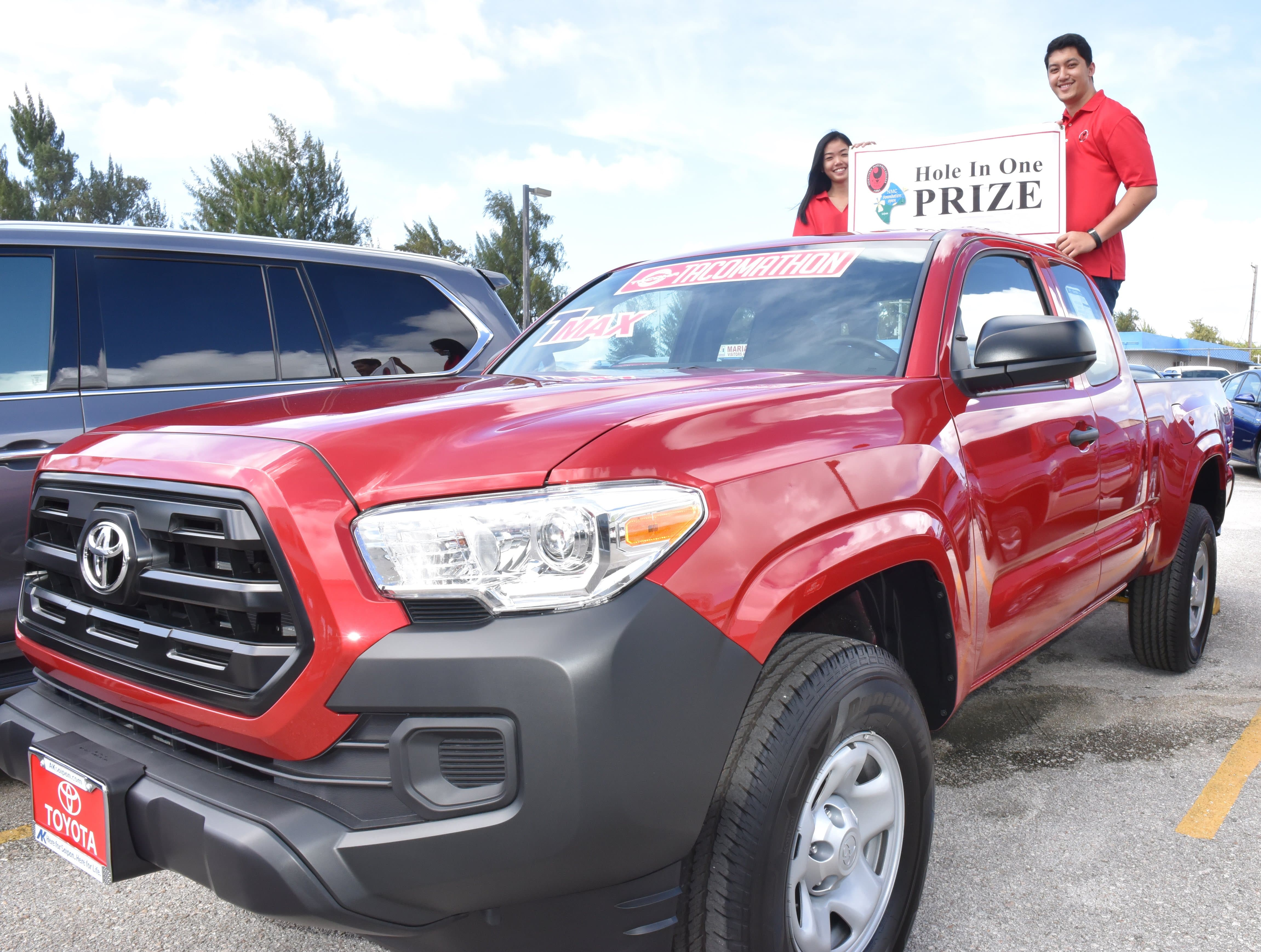 Atkins Kroll is offering a 2017 Toyota Tacoma that will be featured at the upcoming annual NMC Foundation Golf Tournament on Saturday, March 3, 2018. In the photo are Atkins Kroll employees and NMC staff and students, led by NMC President Dr. Carmen Fernandez (3rd from right).
