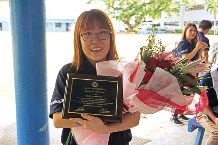 Mount Carmel School�s Teacher of the Year awardee Zhenzhu �Teacher Pearl� Jin, at the 2018 Faculty & Staff Appreciation Ceremony held yesterday at the MCS Gymnasium in Chalan Kanoa. (Bea Cabrera)